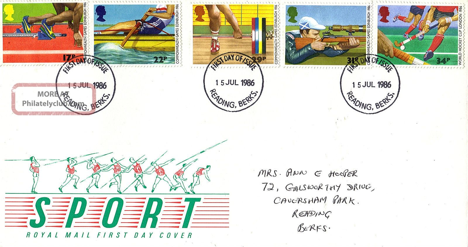 15 July 1986 Commonwealth Games Royal Mail First Day Cover Reading Berks Fdi Topical Stamps photo