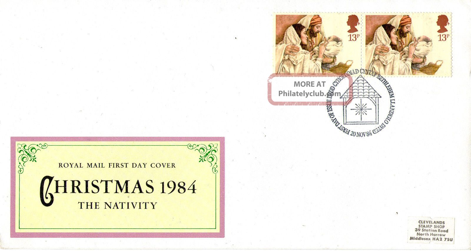 20 November 1984 Christmas Royal Mail First Day Cover Bethlehem Shs Topical Stamps photo