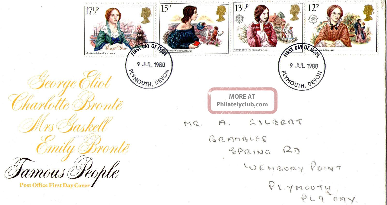 9 July 1980 Famous People Post Office First Day Cover Plymouth Fdi Topical Stamps photo