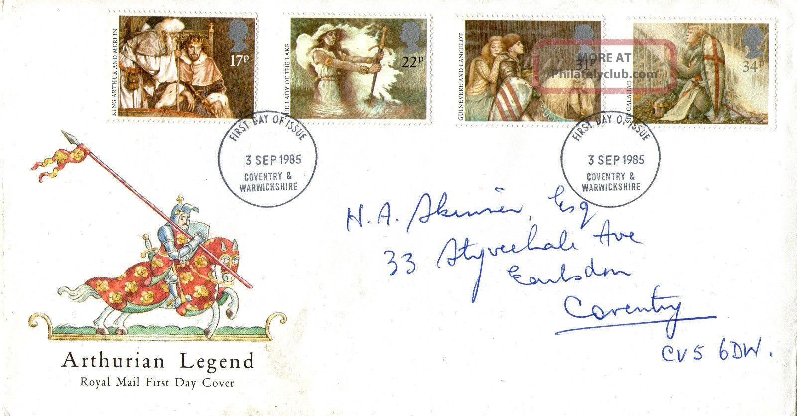 3 September 1985 Arthurian Legend Royal Mail First Day Cover Coventry Fdi Topical Stamps photo