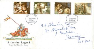 3 September 1985 Arthurian Legend Royal Mail First Day Cover Coventry Fdi photo