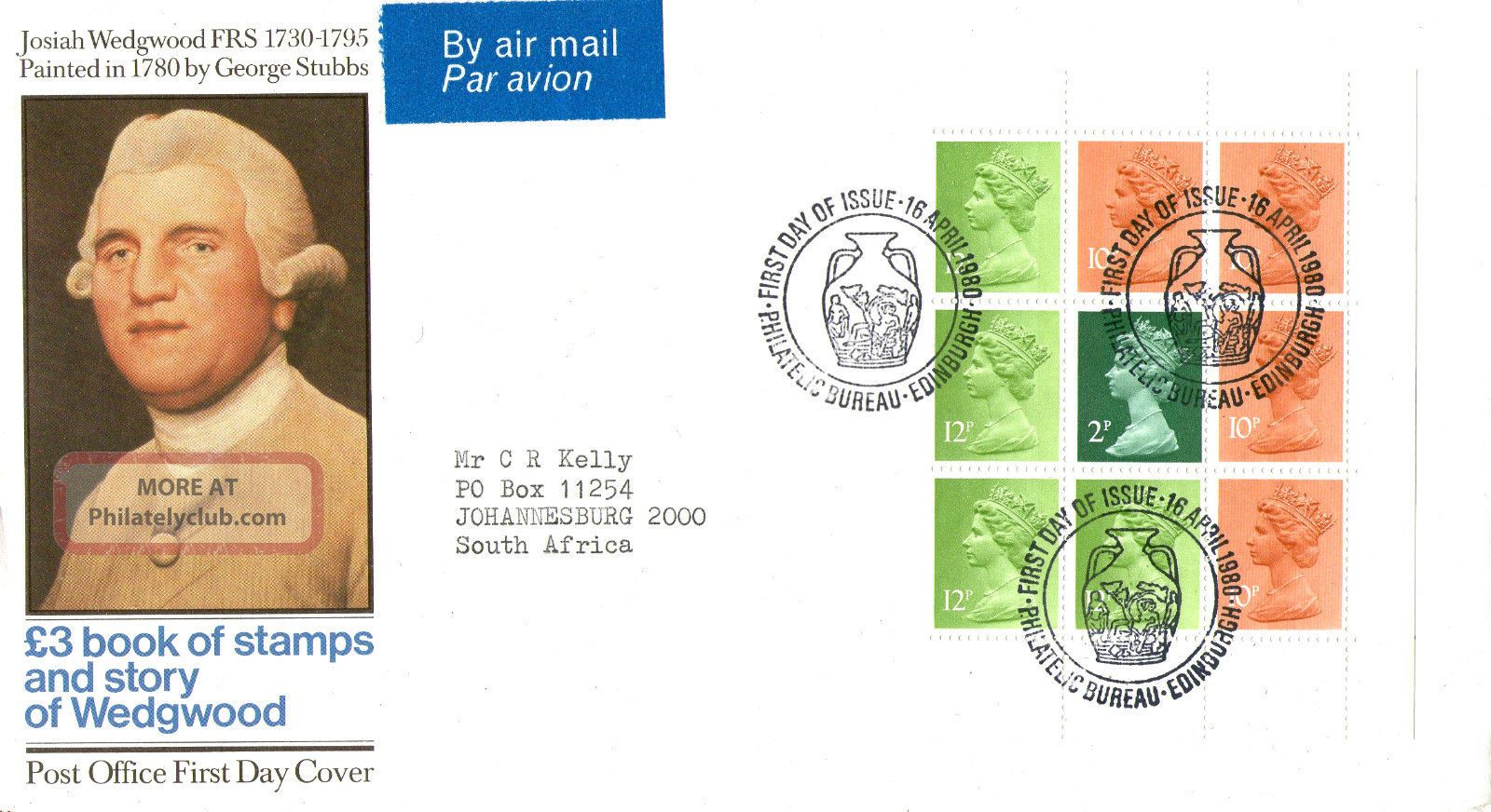 16 April 1980 Wedgwood Booklet Pane Post Office First Day Cover Bureau Shs Topical Stamps photo