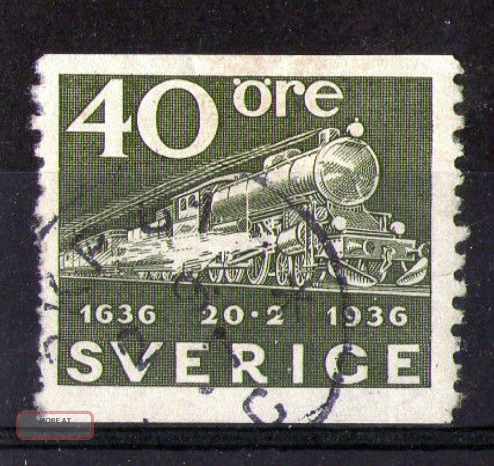 Sweden 1936 Steam Locomotive Commemorative Stamp Sg 195 Vfu Europe photo