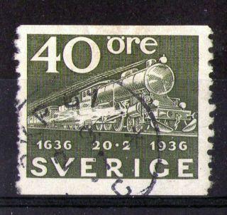 Sweden 1936 Steam Locomotive Commemorative Stamp Sg 195 Vfu photo