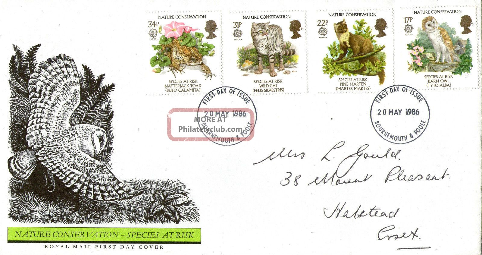 20 May 1986 Nature Conservation Royal Mail First Day Cover Bournemouth Fdi Animal Kingdom photo