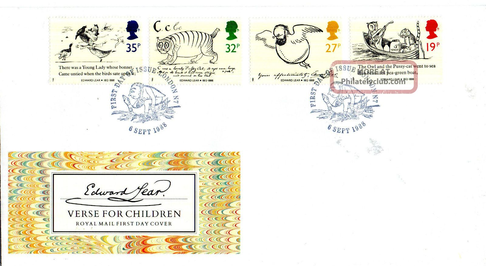 6 September 1988 Edward Lear Unadd Royal Mail First Day Cover London N7 Shs (u) Topical Stamps photo