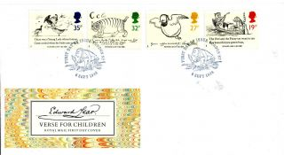 6 September 1988 Edward Lear Unadd Royal Mail First Day Cover London N7 Shs (u) photo