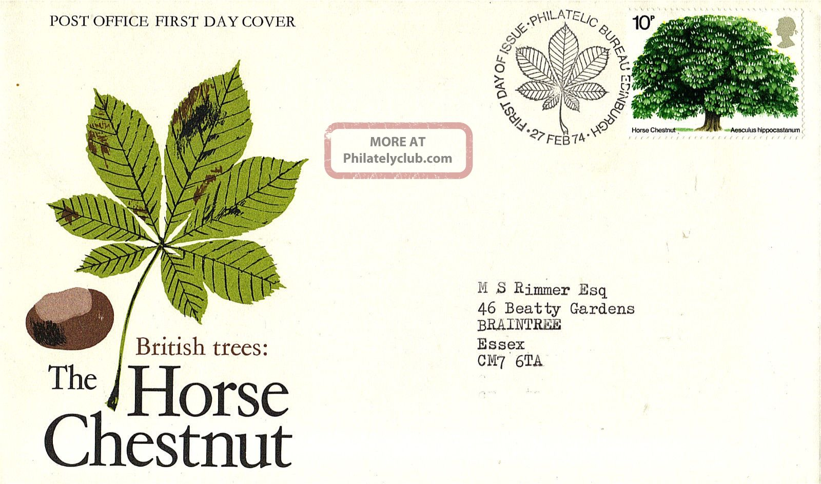 27 February 1974 The Horse Chestnut Tree Po First Day Cover Bureau Shs Topical Stamps photo