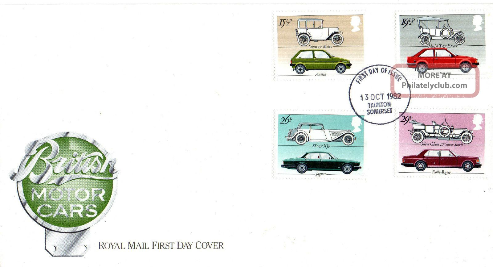 13 October 1982 British Motor Cars Royal Mail First Day Cover Taunton Fdi Transportation photo