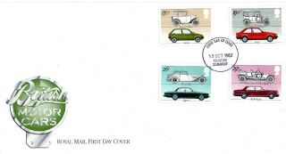 13 October 1982 British Motor Cars Royal Mail First Day Cover Taunton Fdi photo