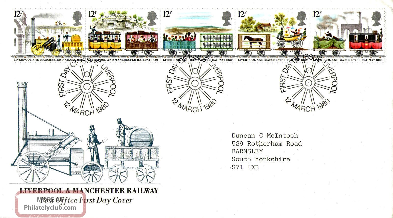 12 March 1980 Liverpool & Manchester Railway Po First Day Cover Liverpool Shs Transportation photo