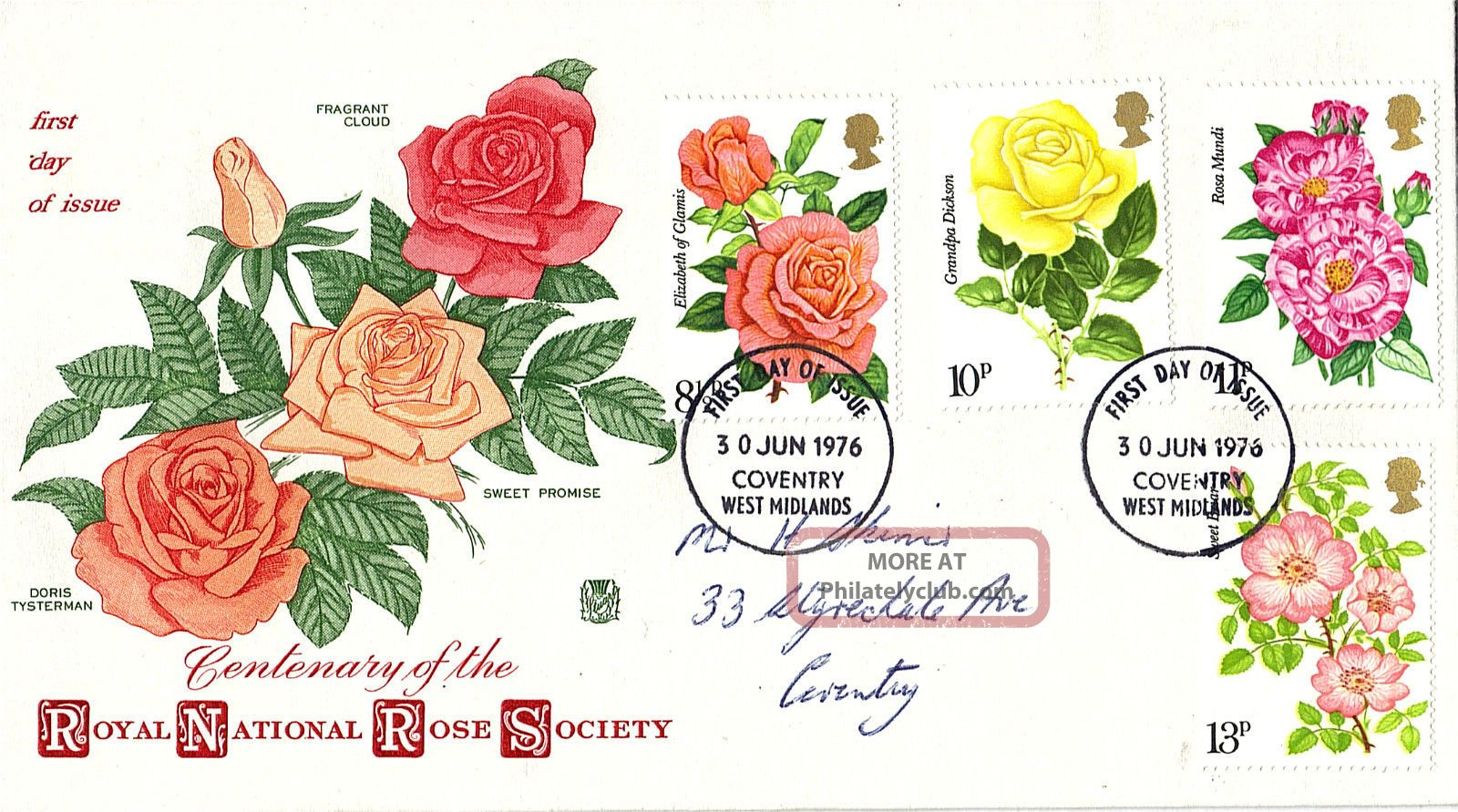 30 June 1976 Rose Society Centenary Stuart First Day Cover Coventry Fdi Topical Stamps photo