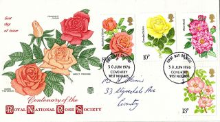 30 June 1976 Rose Society Centenary Stuart First Day Cover Coventry Fdi photo