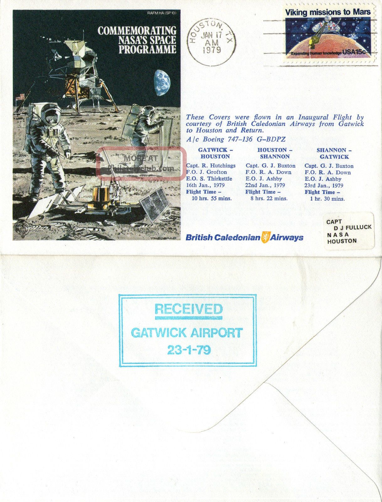 17 January 1979 Mission To Mars Flown Cover Houston Cancel United States photo