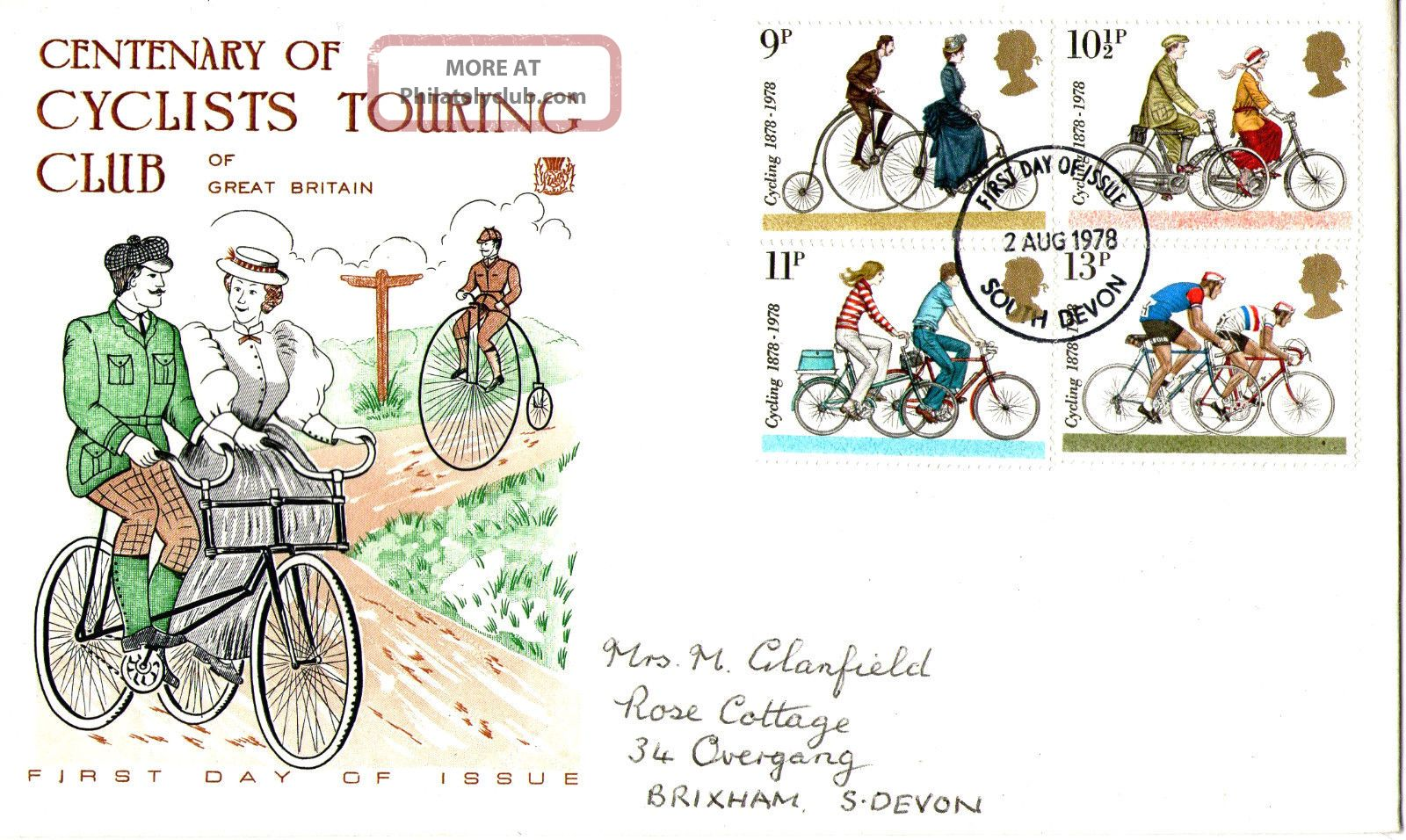 2 August 1978 Cycling Centenary Stuart First Day Cover South Devon Fdi Topical Stamps photo