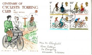 2 August 1978 Cycling Centenary Stuart First Day Cover South Devon Fdi photo