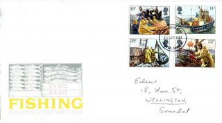 23 September 1981 Fishing Post Office First Day Cover Taunton Somerset Fdi photo