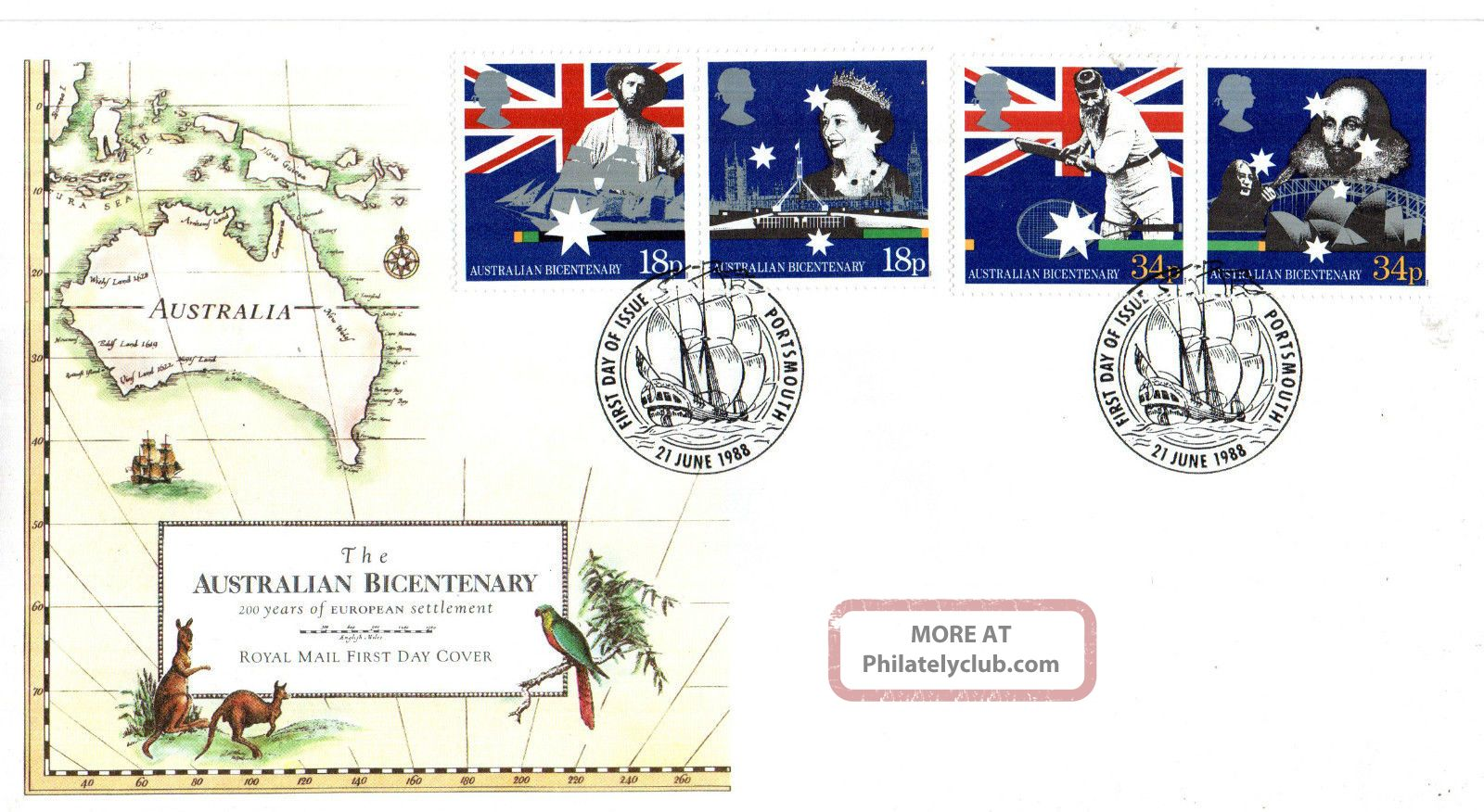 21 June 1988 Australian Bicentenary Unadd Rm First Day Cover Portsmouth Shs Topical Stamps photo