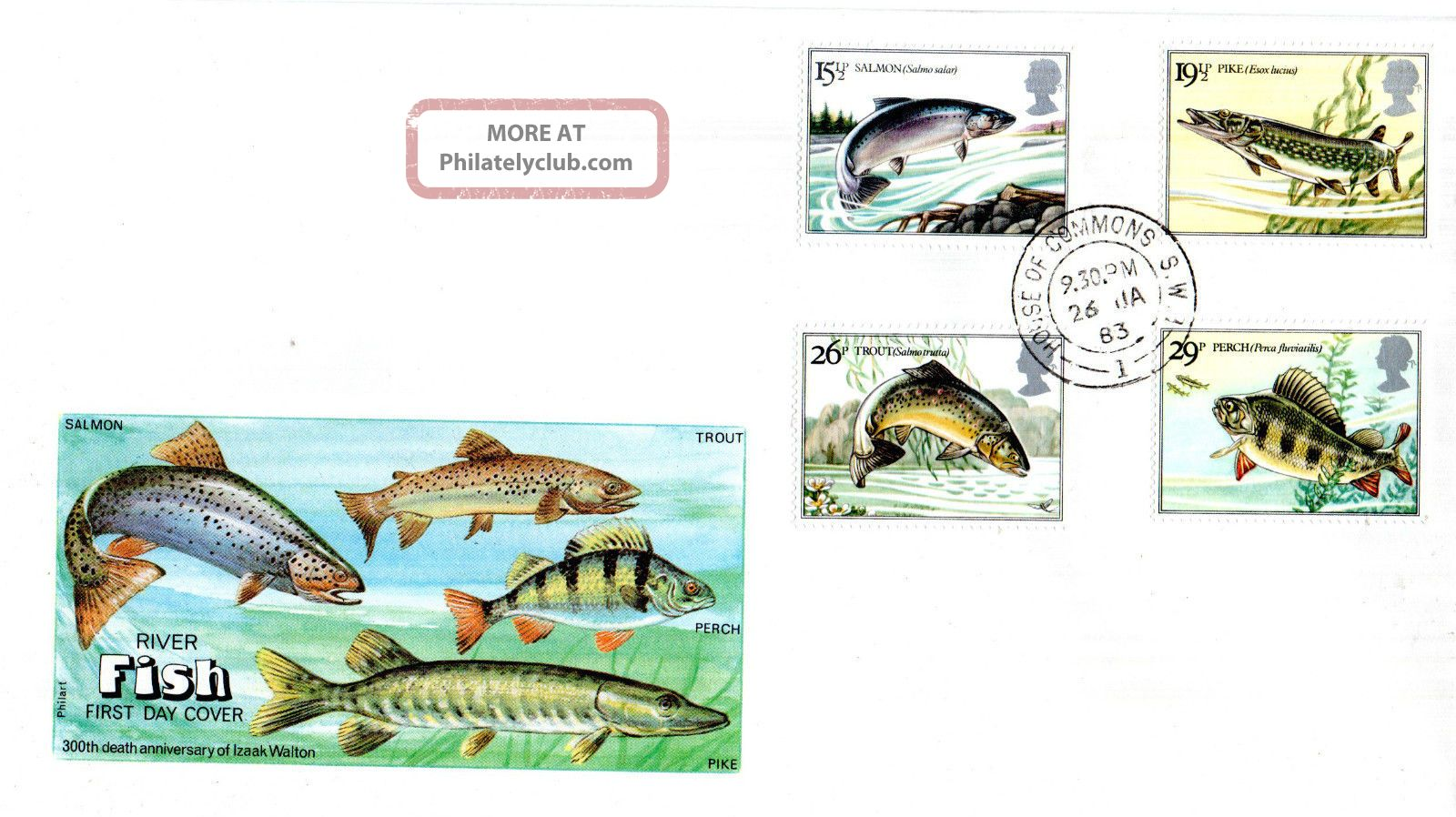 26 January 1983 British River Fishes Philart First Day Cover House Of Commons Cd Animal Kingdom photo