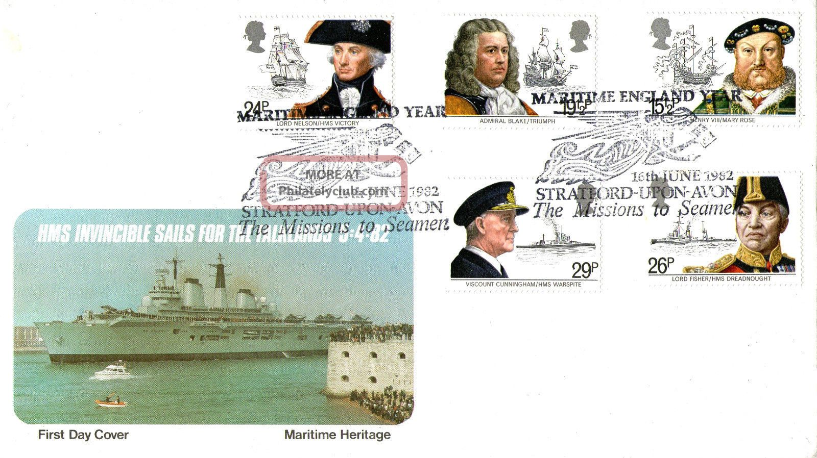 16 June 1982 Maritime Heritage Pps First Day Cover Mission To Seamen Shs Topical Stamps photo