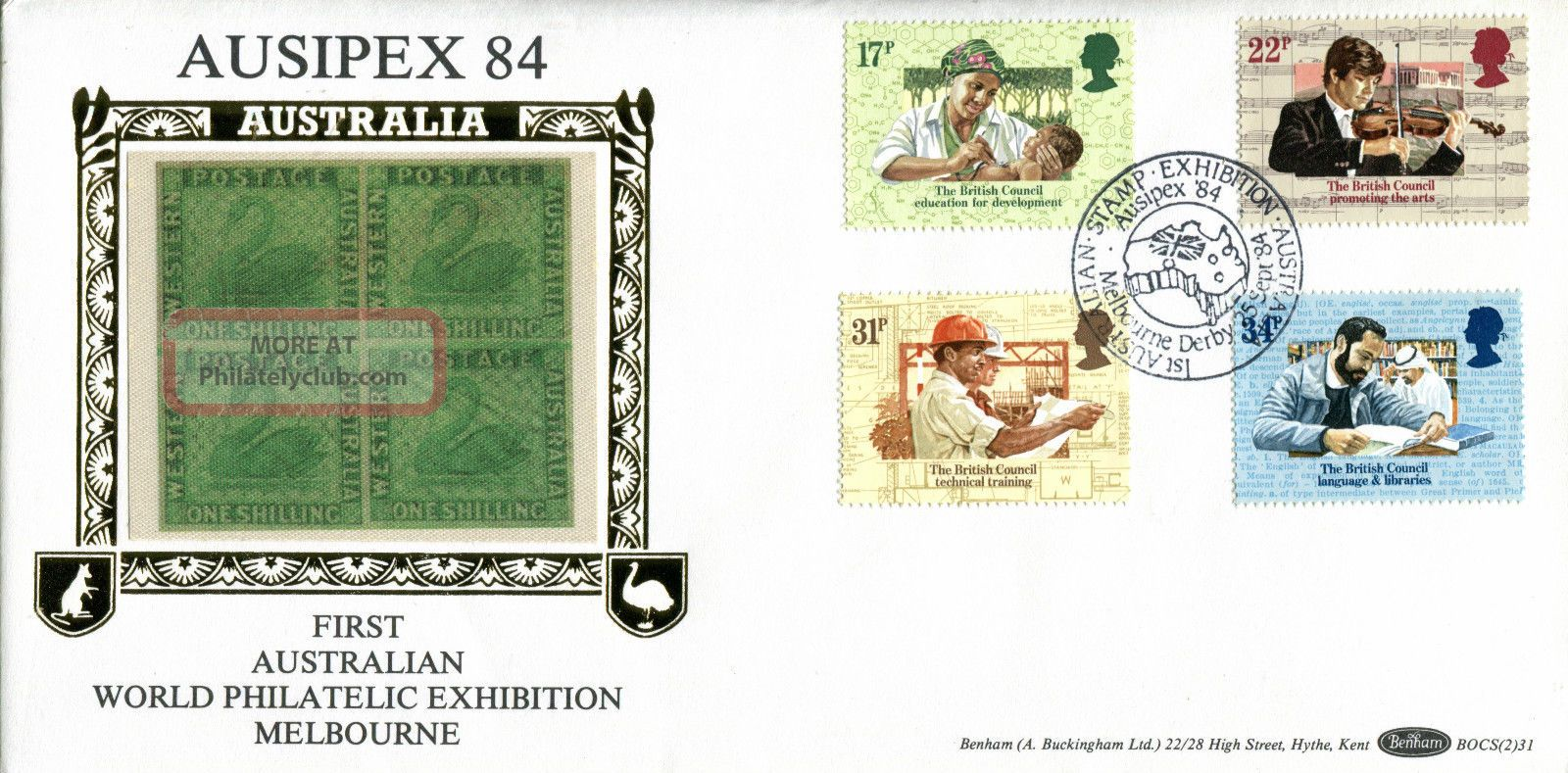 25 September 1984 British Council Benham Bocs (2) 31 First Day Cover Ausipex Shs Topical Stamps photo