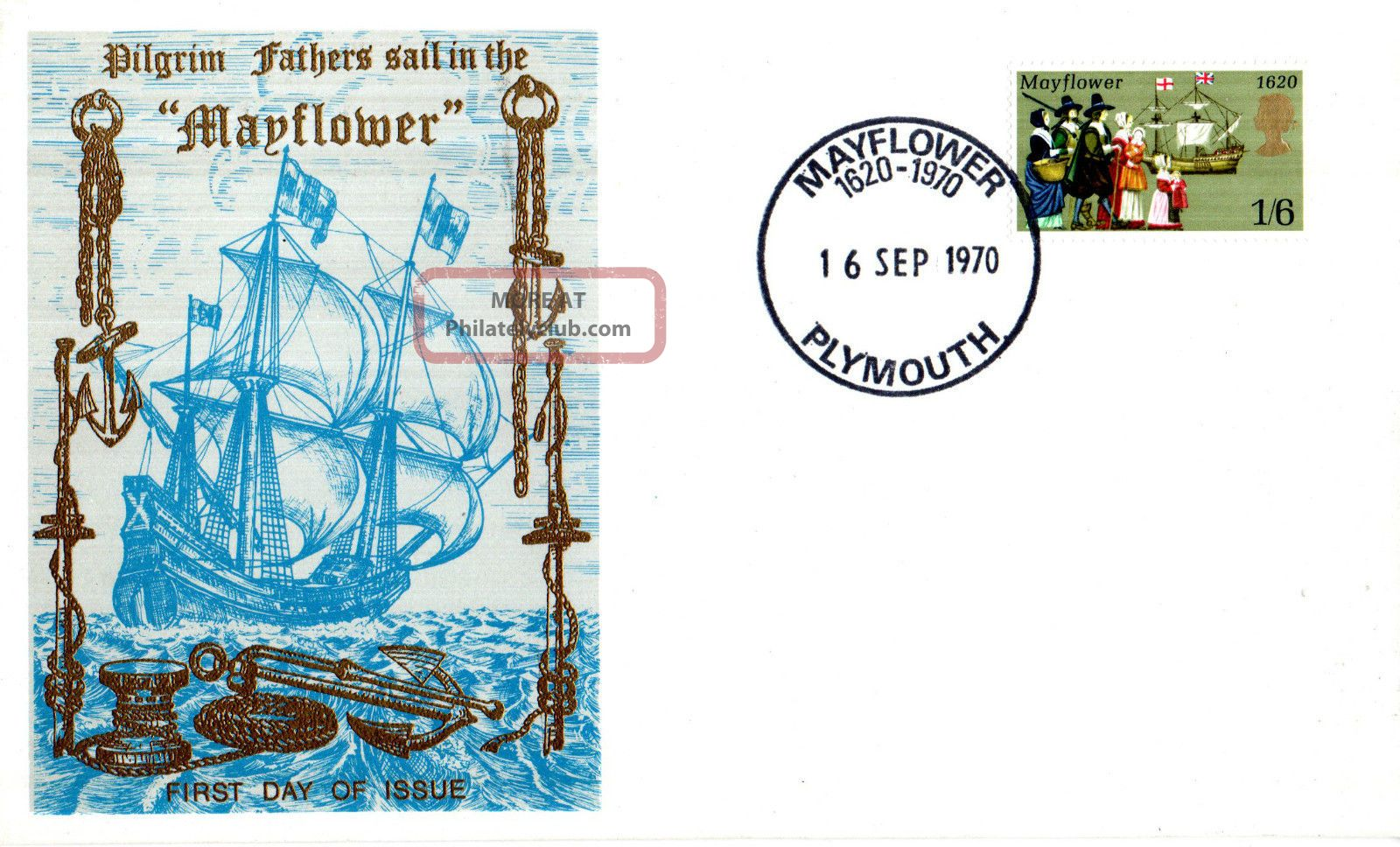 16 September 1970 Mayflower Thames Commemorative Cover Plymouth Shs Transportation photo