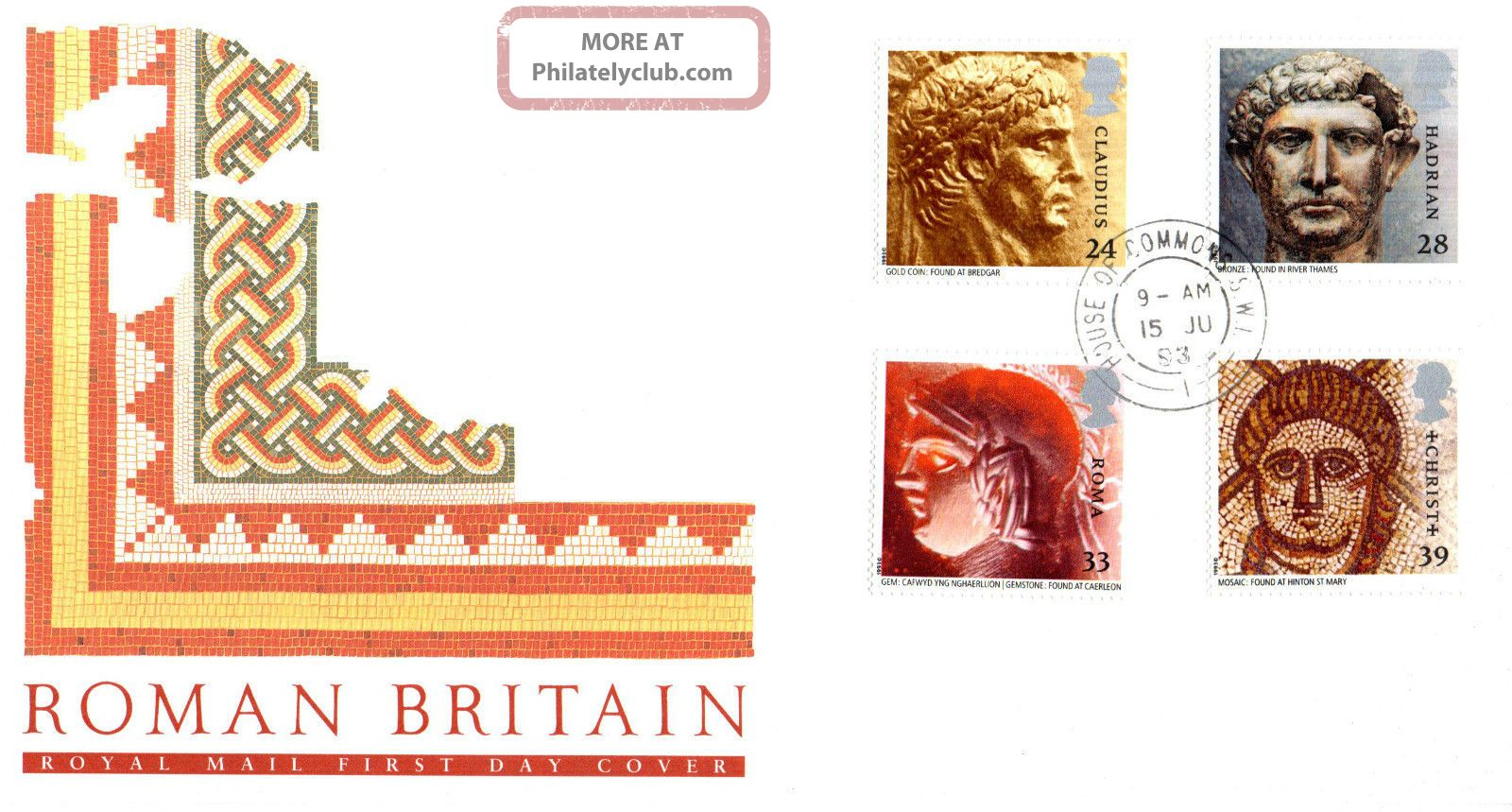15 June 1993 Roman Britain Royal Mail First Day Cover House Of Commons Sw1 Cds Topical Stamps photo
