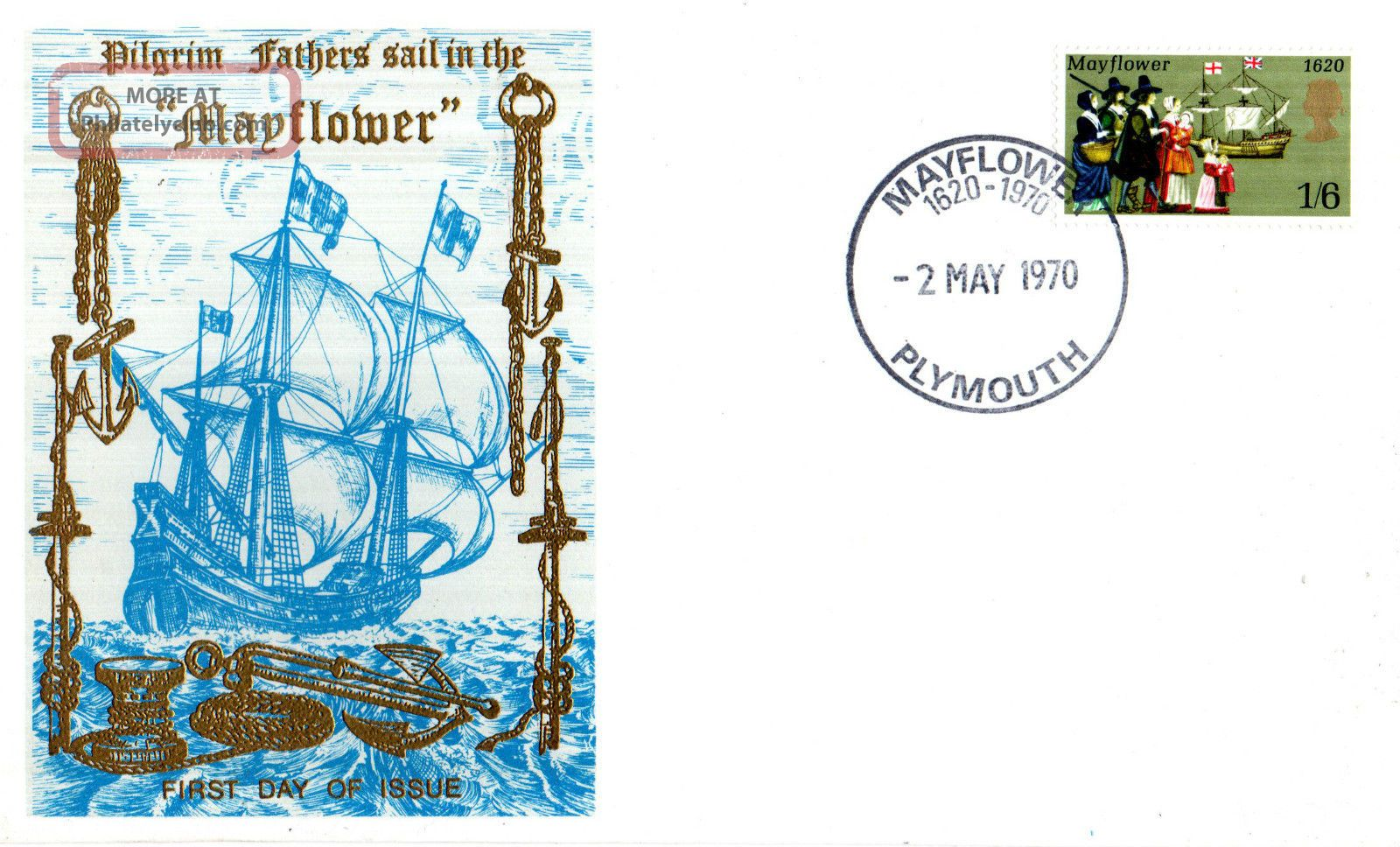 2 May 1970 Mayflower Thames Commemorative Cover Plymouth Shs Transportation photo