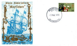 2 May 1970 Mayflower Thames Commemorative Cover Plymouth Shs photo