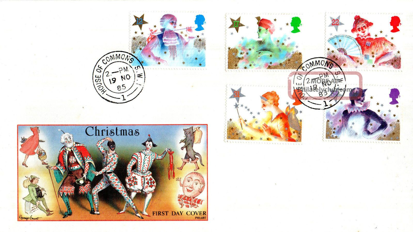 19 November 1985 Christmas Philart First Day Cover House Of Commons Sw1 Cds Topical Stamps photo
