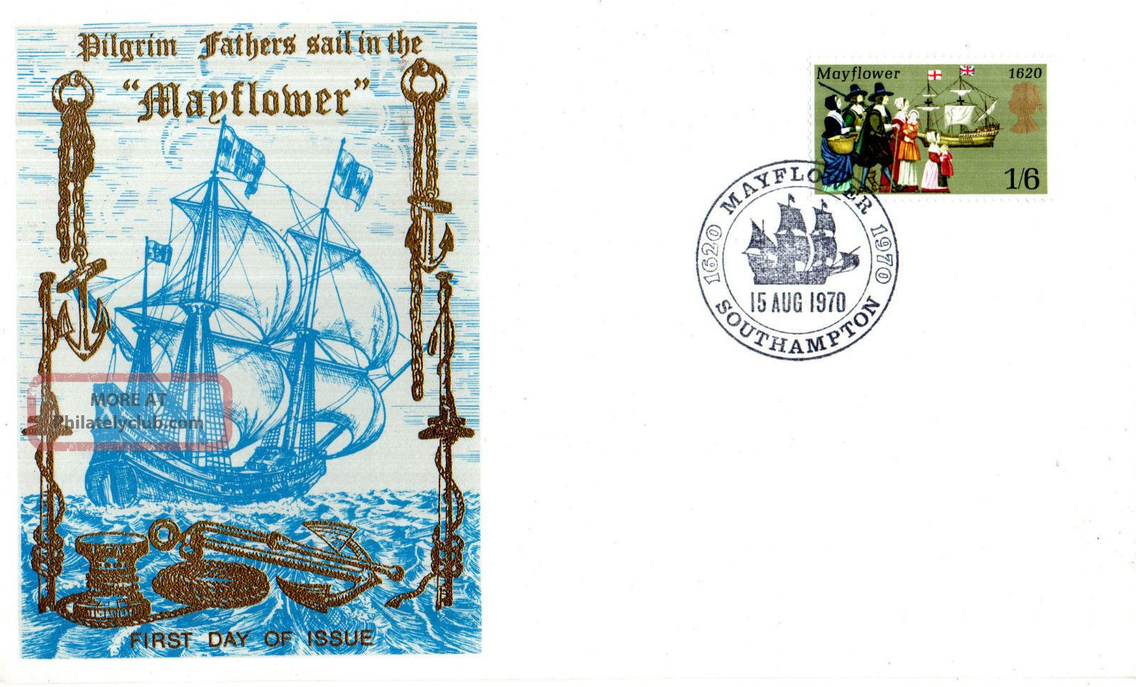 15 August 1970 Mayflower Thames Commemorative Cover Southampton Shs Transportation photo
