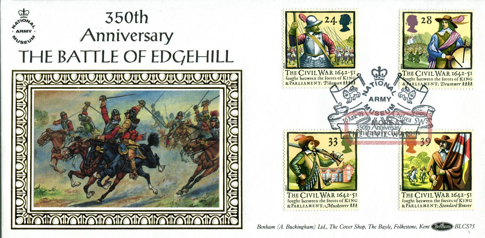 16 June 1992 Civil War Benham Blcs 75 First Day Cover Army Museum Chelsea Shs Topical Stamps photo