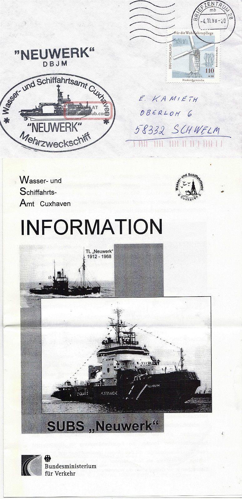 German Patrol Boat Ms Neuwerk Naval Cached Cover & Brochure Europe photo