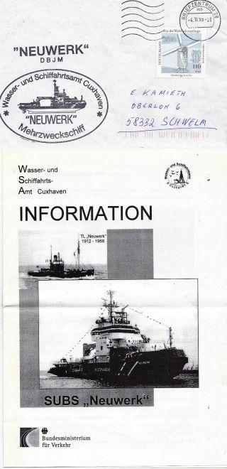 German Patrol Boat Ms Neuwerk Naval Cached Cover & Brochure photo