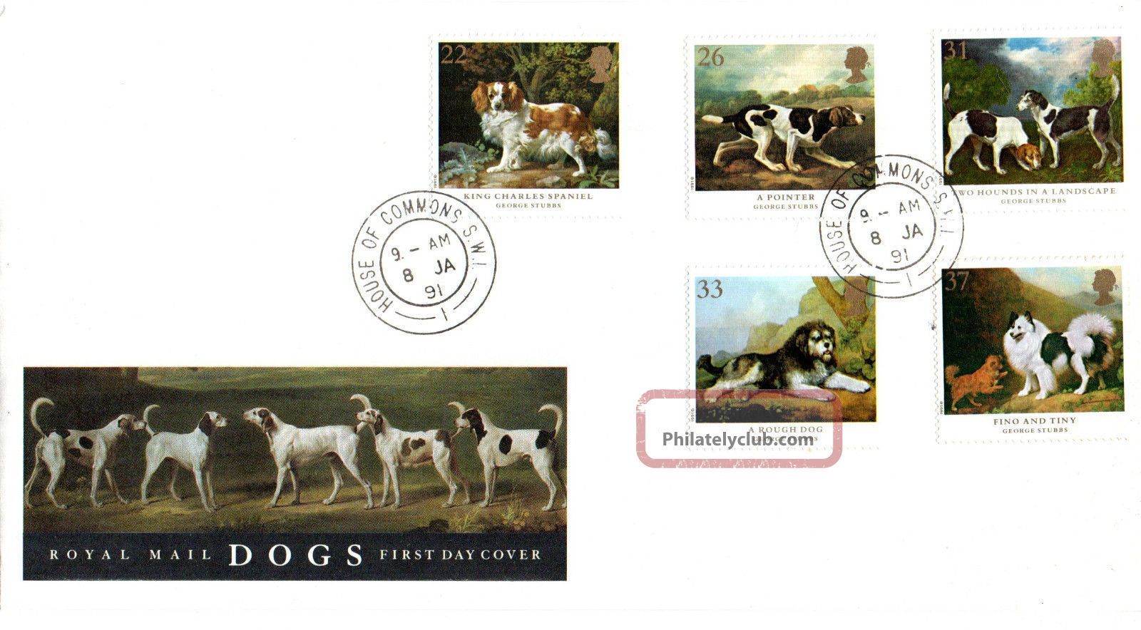 8 January 1991 Dogs Crufts Anniversary Rm First Day Cover House Of Commons Sw1 Animal Kingdom photo