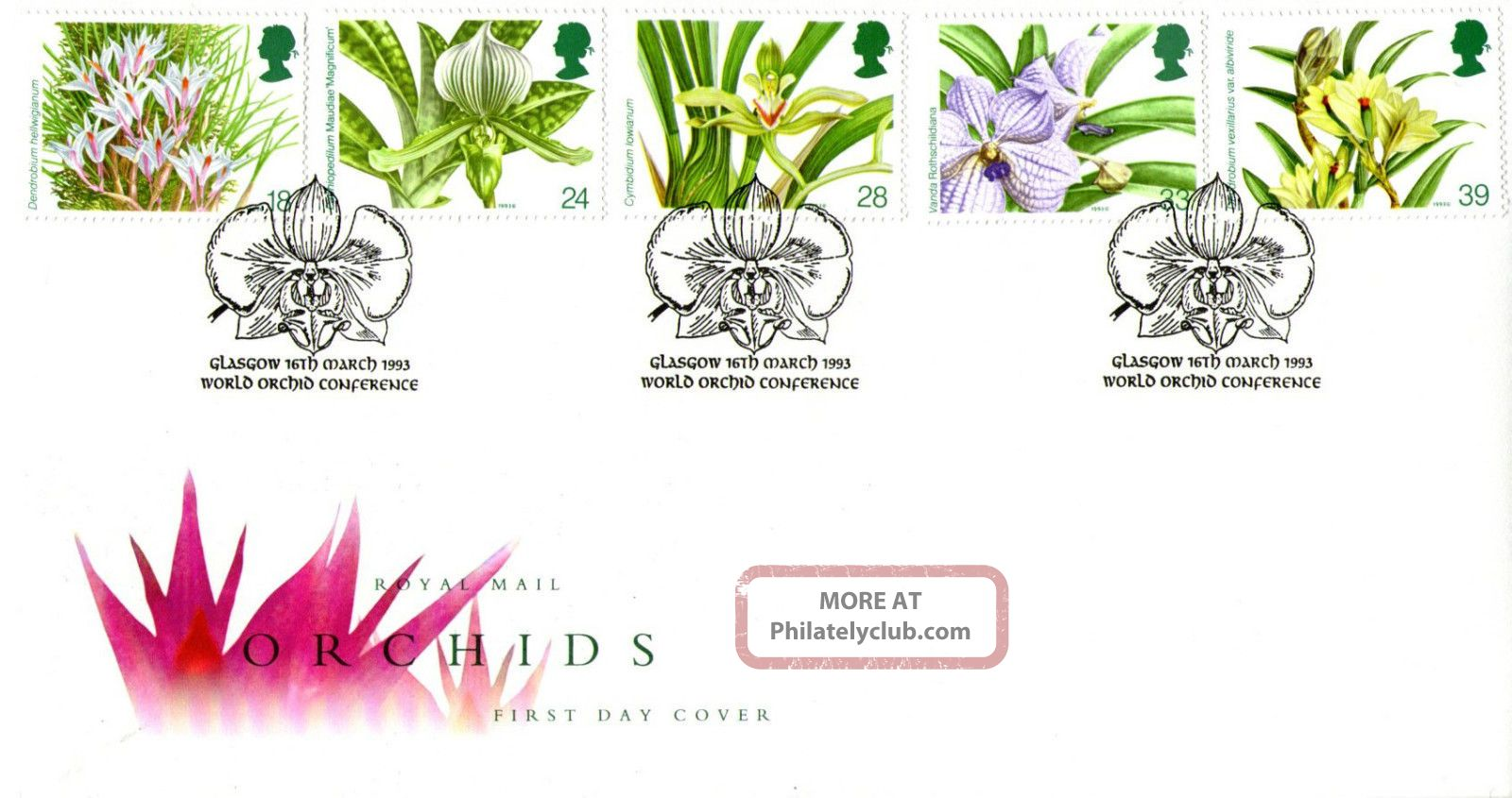 16 March 1993 Orchids Royal Mail First Day Cover World Orchid Conference Shs Topical Stamps photo