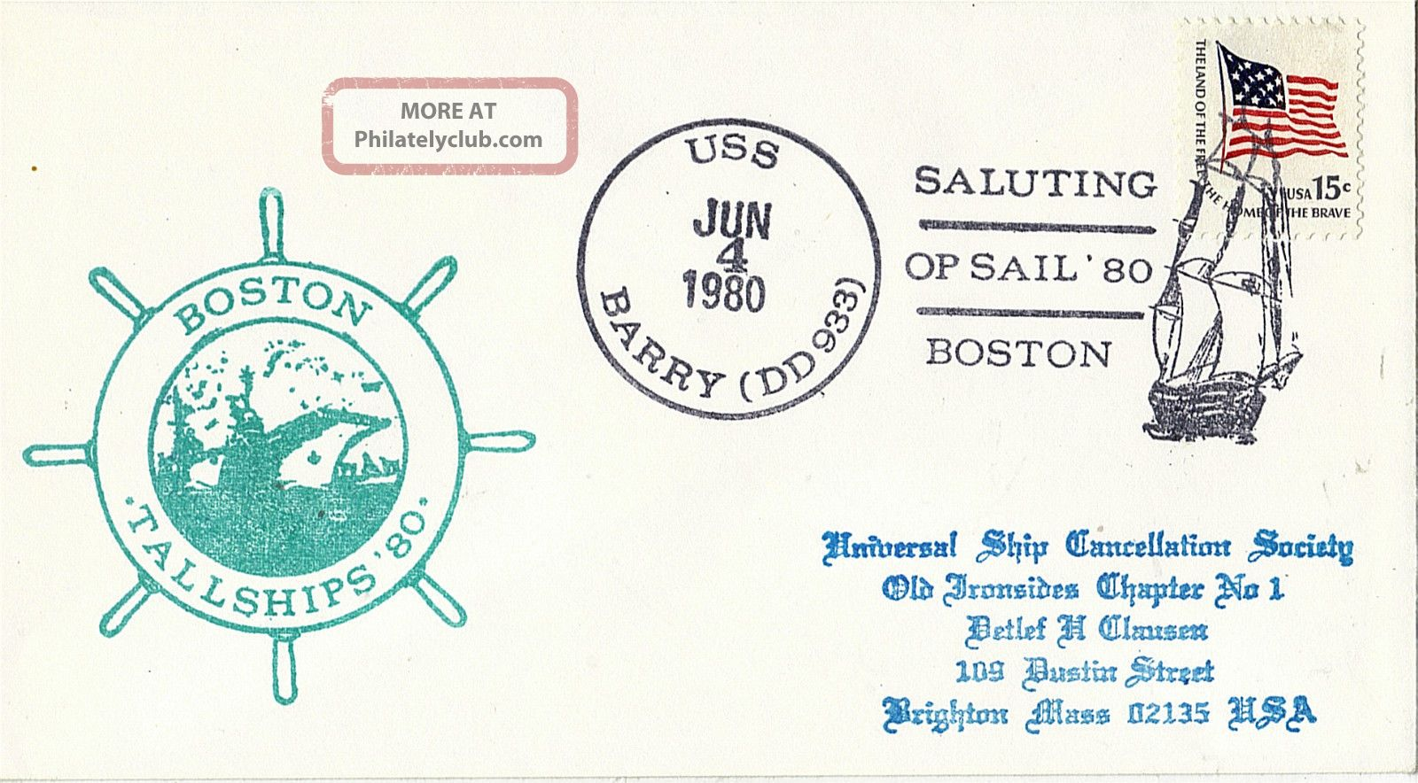 4 June 1980 Uss Barry Dd 933 Us Destroyer Cached Cover Boston Tallships ' 80 United States photo