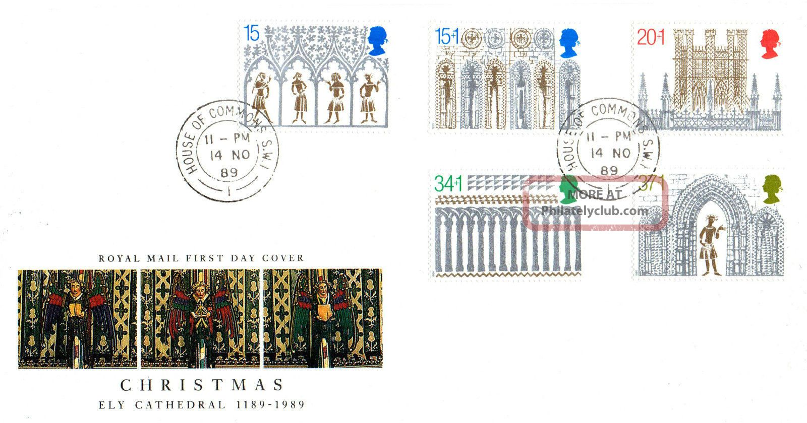 14 November 1989 Christmas Royal Mail First Day Cover House Of Commons Sw1 Cds Topical Stamps photo