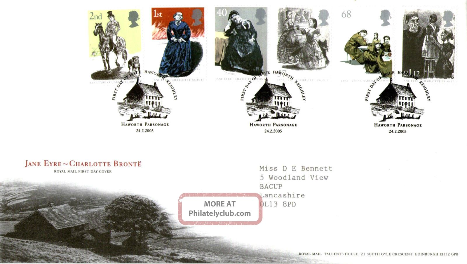 24 February 2005 Jane Eyre Royal Mail First Day Cover Haworth Parsonage Shs Topical Stamps photo