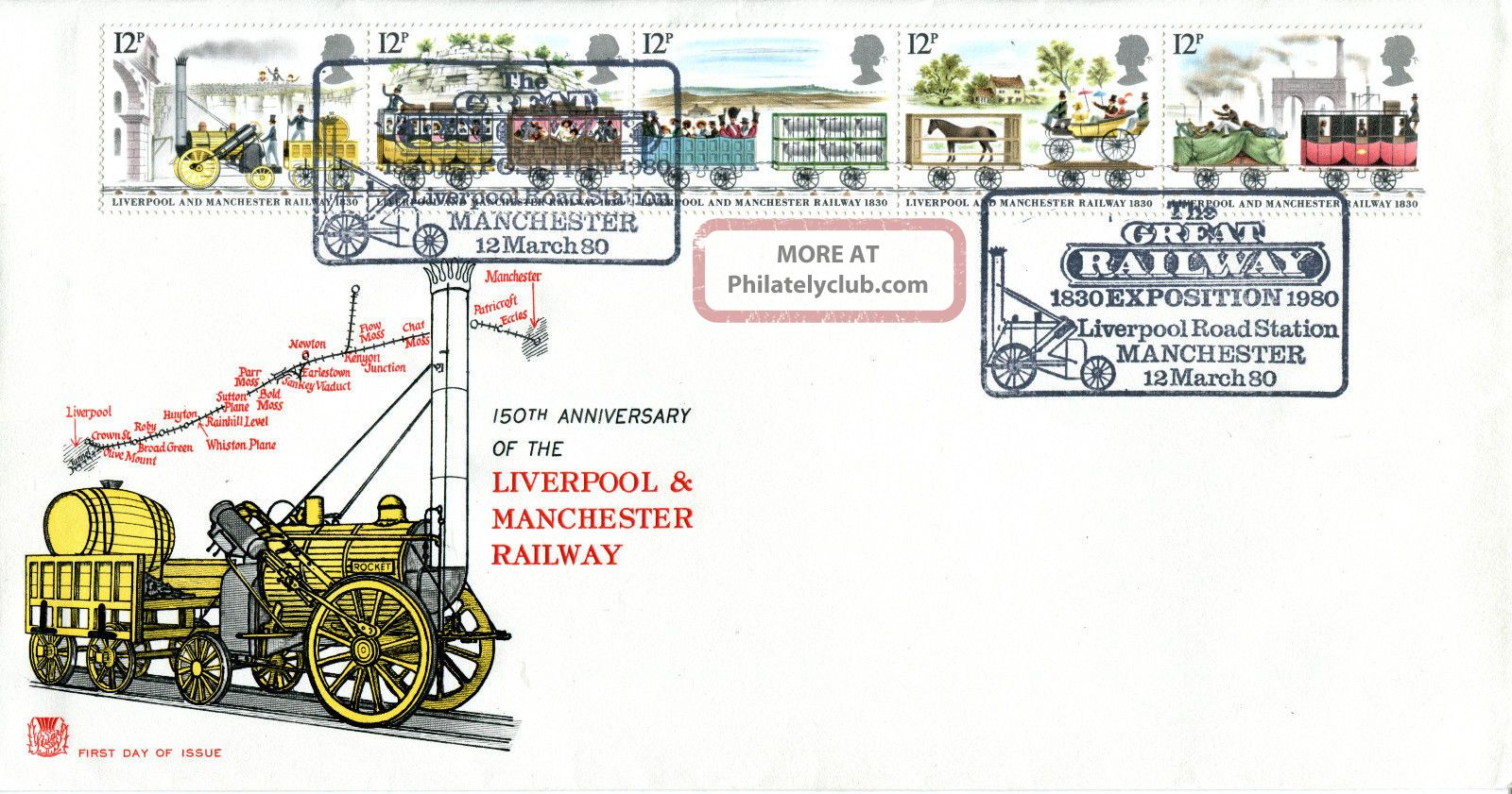 12 March 1980 Liverpool & Manchester Railway Stuart Fdc Exposition Shs Transportation photo