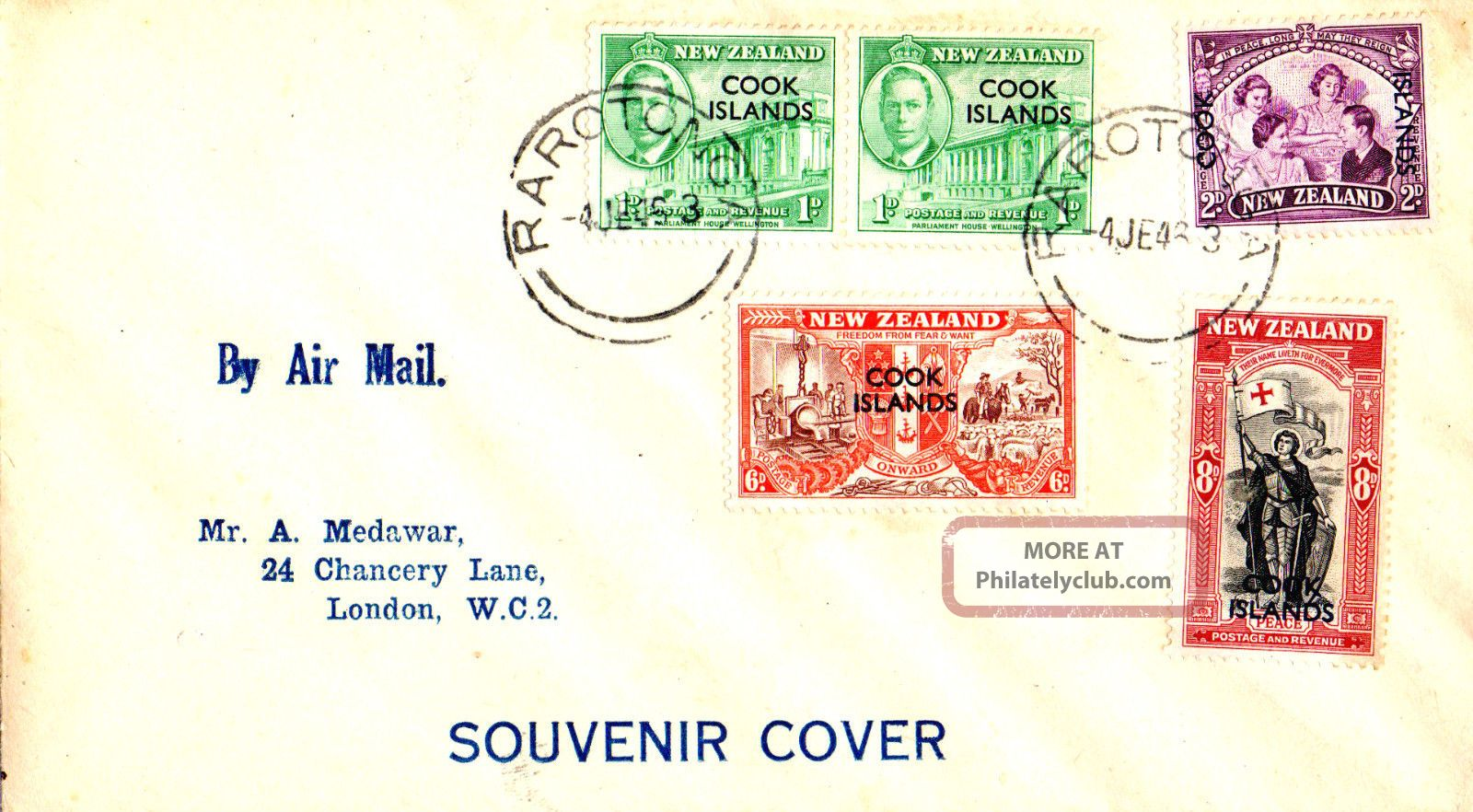 Cook Islands 1946 Zealand Peace Overprinted First Day Cover Cds British Colonies & Territories photo