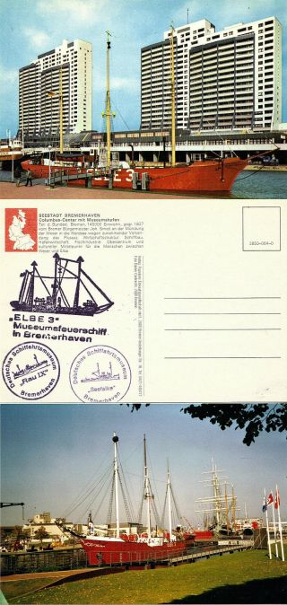 German Light Ship Fs Elbe 3 Ships Cached Postcard & A Coloured Photograph photo