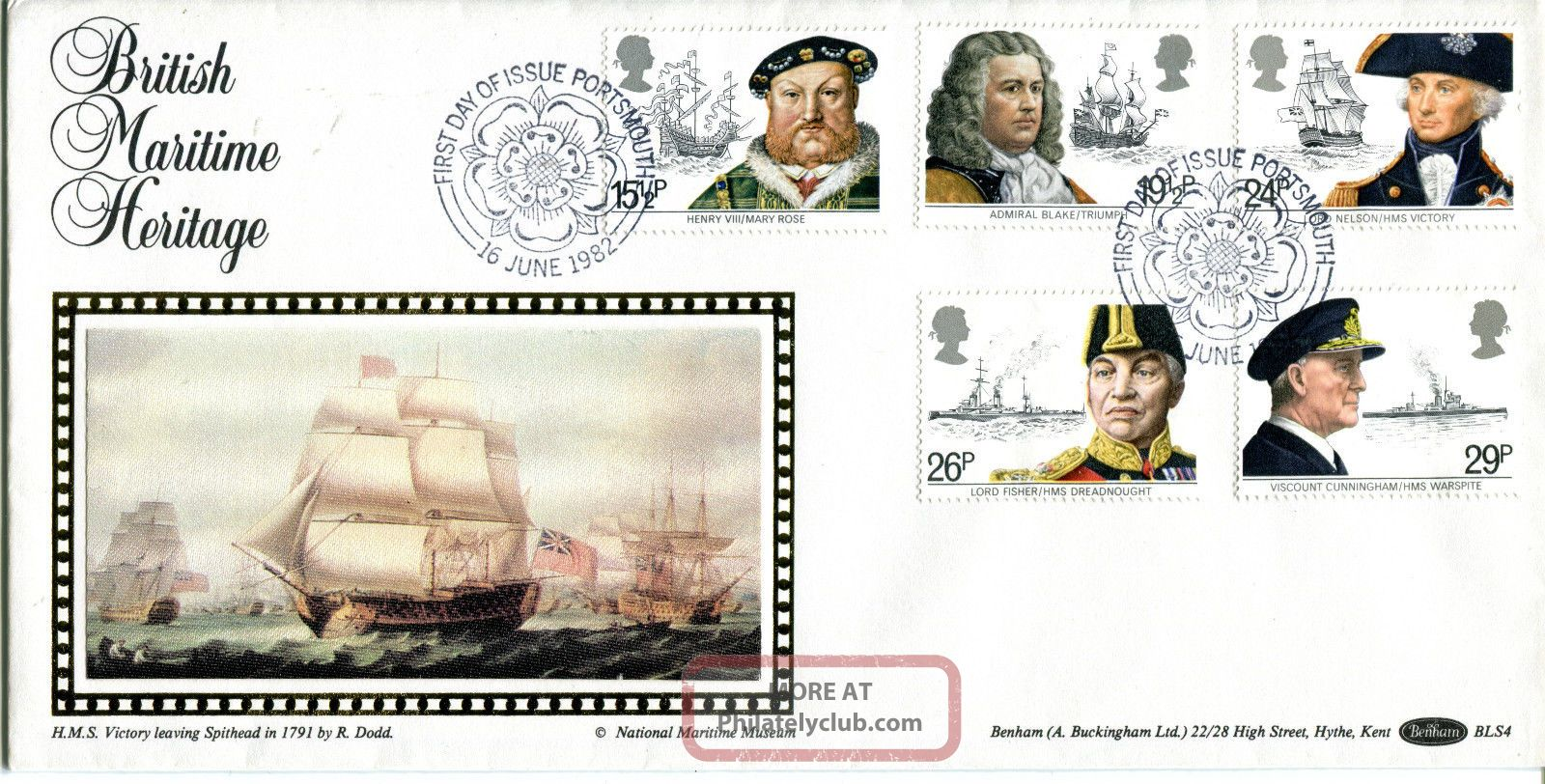 16 June 1982 Maritime Heritage Benham Bls 4 First Day Cover Portsmouth Shs Topical Stamps photo