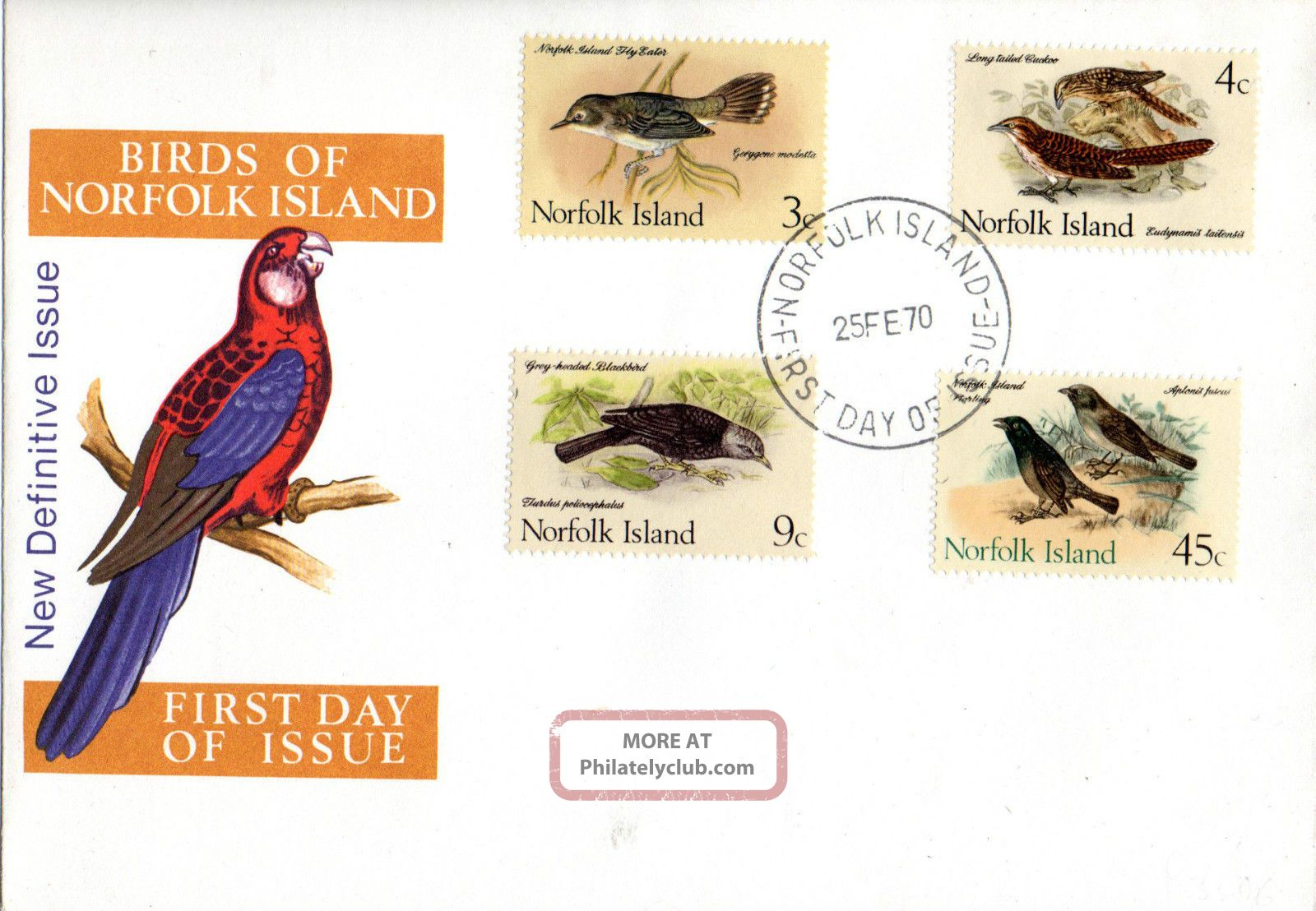 Norfolk Island 25 February 1970 Native Birds Unaddressed First Day Cover Shs British Colonies & Territories photo