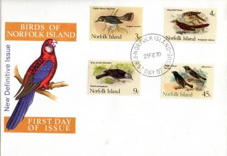 Norfolk Island 25 February 1970 Native Birds Unaddressed First Day Cover Shs photo