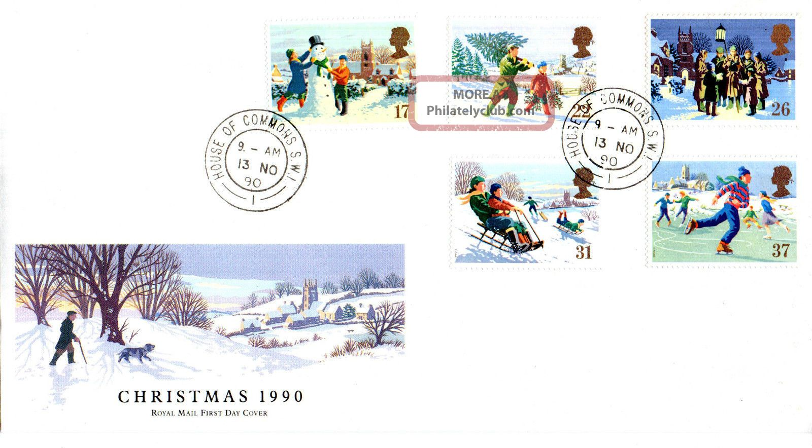 13 November 1990 Christmas Royal Mail First Day Cover House Of Commons Sw1 Cds Topical Stamps photo