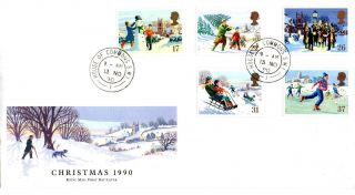 13 November 1990 Christmas Royal Mail First Day Cover House Of Commons Sw1 Cds photo