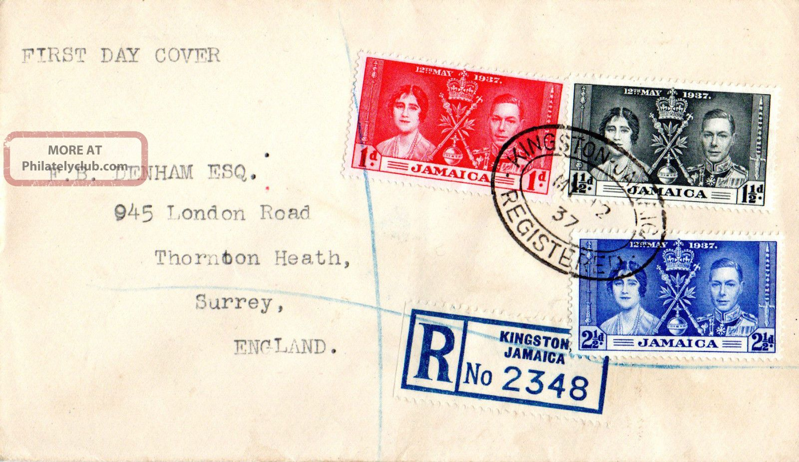 Jamaica 12 May 1937 Coronation First Day Cover British Colonies & Territories photo