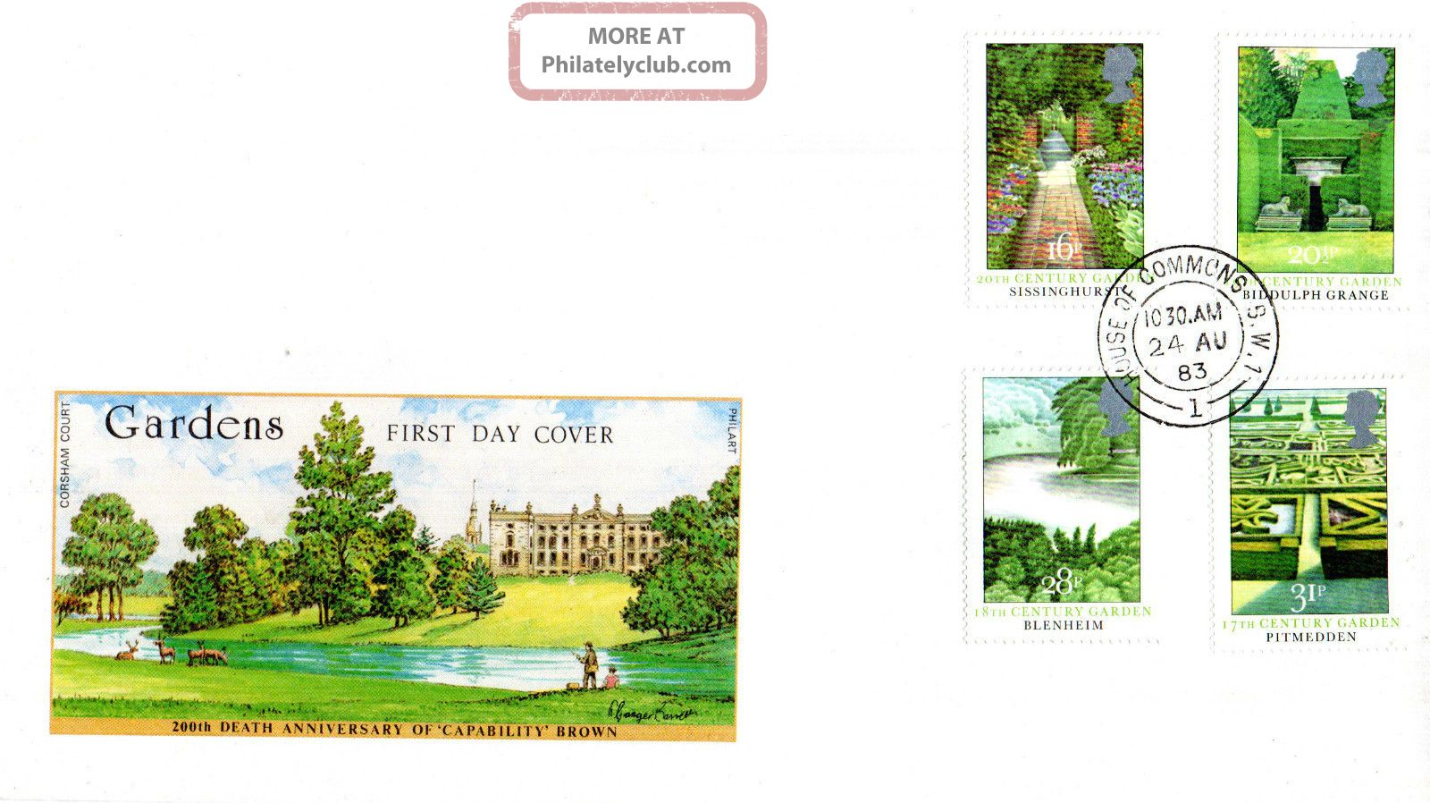 24 August 1983 British Gardens Philart First Day Cover House Of Commons Sw1 Cds Topical Stamps photo