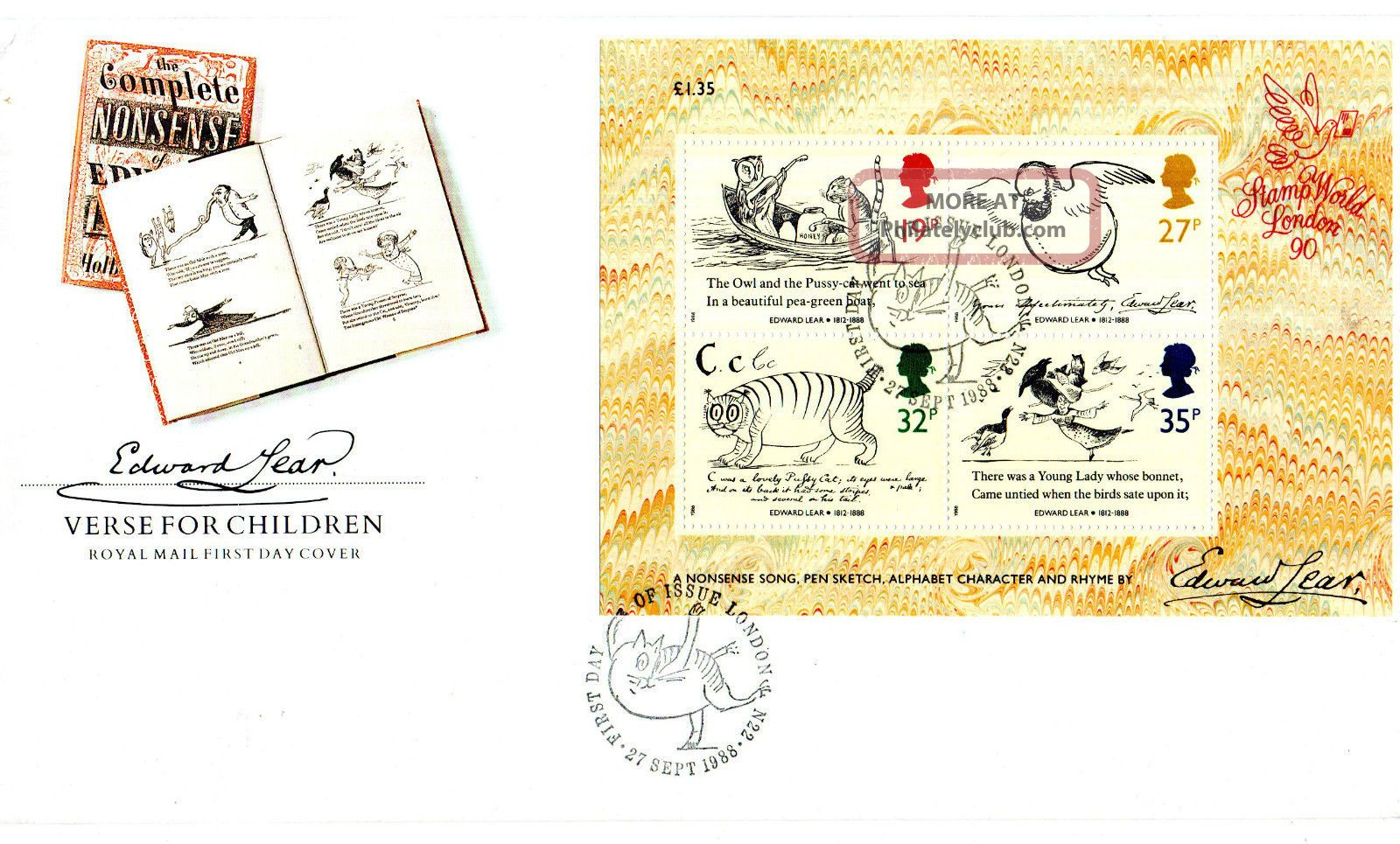 27 September 1988 Edward Lear Miniature Sheet Unad Royal Mail Fdc London N22 Shs Topical Stamps photo